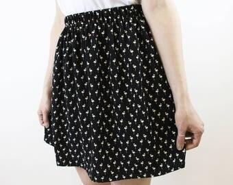 skirt flamingo black white
