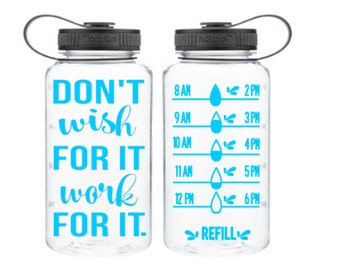 Water intake bottle - water tracker -  water intake - track water bottle - keep track of water - wide mouth bottle - don't wish for it