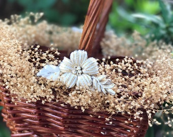 rustic woodland flower girl basket baby's breath destination wedding basket