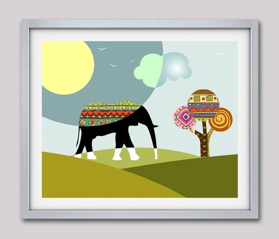 Elephant Print African Safari Decor, African Fabric,  Afrocentric  Animal Print Nature Decor, Elephant Wall Art, Elephant Painting