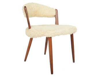 Danish Modern Teak + Wool Vanity Chair
