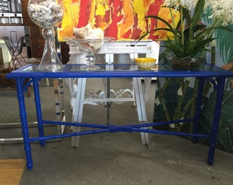 Blue Faux Bamboo Console