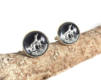 Black and Silver Vintage Glass Cuff Links with Hunting Scene of Dogs