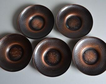 Set of 5 hammered  copper 'chataku' saucers, vintage Japanese, stamped