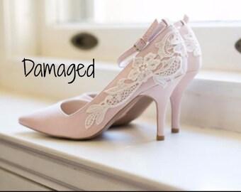 Wedding Shoes - Blush Heels, Blush Bridal Shoes, Wedding Heels, Pink Heels, Blush Pumps with Ivory Lace. US Size 7.5