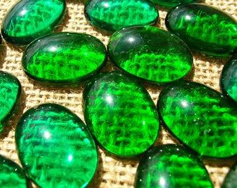 Vintage Green 18x25mm Cabochons - Ovals Cabochon Lot - 18 x 25 MM - Green Stones