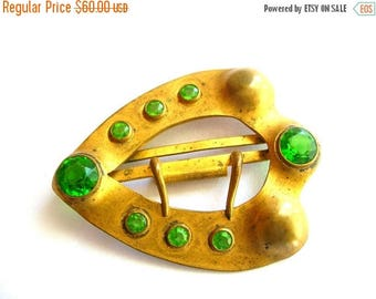 Rare Antique Fishel Nessler Sash Buckle - Gold Tone - Green Rhinestone - Victorian Cosplay - Steampunk
