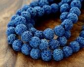 Lava Beads, Dark Blue, 8mm Round - 15 inch Strand - eGR-LV81-8