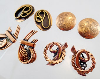 FREE Shipping Vintage Copper Clip On earrings ot of 4 Pairs Mod Modern Art Deco Renoir Geometric Artisan Made