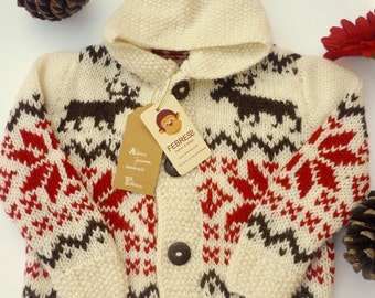 ALPACA jacquard jacket hood, 1 to 4 years old, sweater,Hand knitted,baby, boy, girl, ecru,red,Christmas style, reindeer, Febress