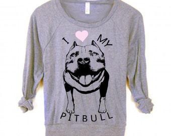 Womens PIT BULL Dog Bulldog pitbull Christmas Sweater Sweatshirt Boho Screen Print Top Long Sleeve American Apparel Raglan Pullover S M L