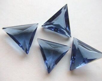 Vintage Montana Blue Triangle Glass Jewels or Stones 18x 18mm x 4    # V 14