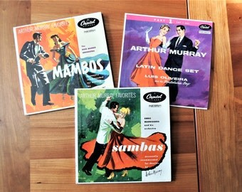 Vintage Vinyl Records, Set of 3 Arthur Murray Dance Lessons 45 RPM Vinyl Records, Latin Dance, Mambos, Sambas Dance Lessons, Dance Party