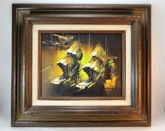 Vintage Mid Century Oil or Acrylic Painting, Chinese Junk Boat Painting Original Painting Signed Bangman, Framed Original Art, Asian Theme