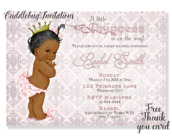 Pink African American Girl Baby Shower Invitation | Pink Baby Girl Shower | Royal Baby Shower | Princess Baby Shower Invitation Printable