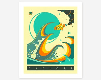 Giclée Fine Art Print, Sci-Fi, Rocket Ship, Pop Art by Jazzberry Blue
