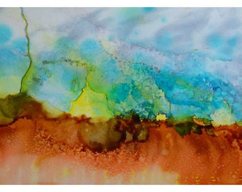 P99 - Abstract Landscape Painting Postcard