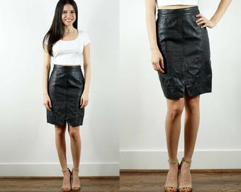 90s Black Leather Skirt / Black Pencil Skirt / Leather Pencil Skirt / Black Slim Skirt / High Waist Skirt / Fitted Leather Skirt / Small