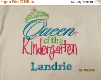 20% OFF Entire Shop Queen of the Kindergarten Custom embroidered saying shirt or one piece w/snaps, Toddlers Girls, Boys