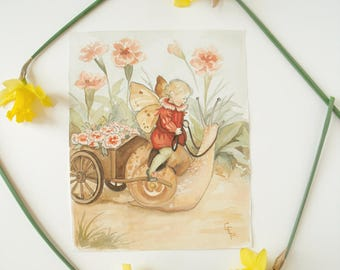 Original Painting: Sweet William - children's illustration, nursery, wall art, home decor, floral, flowers, snail, cute, woodland, whimsy