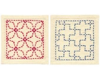 Olympus Sashiko Coaster Kit 2 Pcs with Cloth and Threads - Traditional Japanese Craft