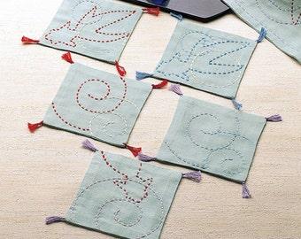 Olympus Sashiko Coaster Kit 5 Pcs with Cloth and Threads Gold Fish Design - Traditional Japanese Craft