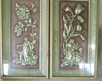 Metalcraft Jade Four Seasons Spring and Summer wall plaques, vintage 1960 home decor