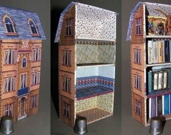 Bookshelf, paper minis, DIY kit from paper in miniature for the Doll House, Doll House, dollhouse miniatures # 40056