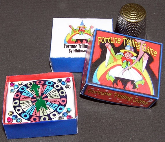 Fortune teller, spinner game, paper minis, DIY kit from paper in miniature for the Doll House, Doll House, dollhouse miniatures