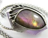 the tree spirit - purple labradorite & amethyst crystal tree of life pendant