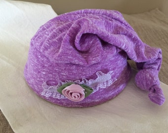 Newborn Top Knot hat with Flower purple, lavendar, baby photo prop