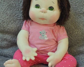 """Fretta's OOAK life size 48 cm / 19"""" Soft Sculpture Baby. Weighted Empathy Doll. Textile Baby Doll"""
