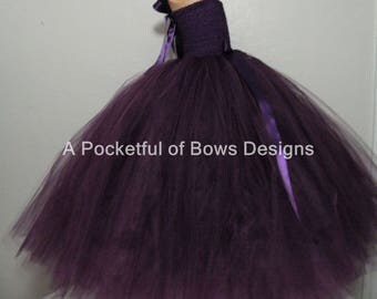 Eggplant Flower Girl Dress, Plum Flower Girl Tutu Dress, Plum Tutu Dress