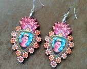 Bold Frida Kahlo Sacred Heart Earrings laser cut wood with self-portrait