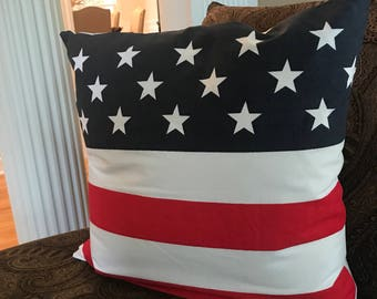 Patriotic Pillow | Flag Pillow | RED WHITE BLUE Pillow | American Flag Pillow | Patriotic Home Decor | 4th of July Pillow | July 4th Pillow
