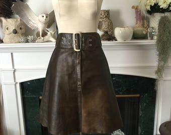 60s Leather Skirt with large self buckle