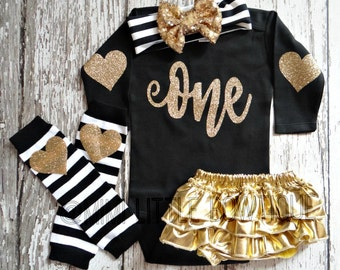 First Birthday Long sleeve bodysuit with gold lettering-1st Birthday Outfit- Baby Girl Clothing-Party outfit one birthday - black and gold