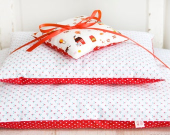 Doll bedding *Flowers & Dots* Bed linen for doll bed cradle