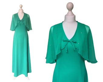 1970's Dress - 70's Maxi Dress - Long Green Dress With Chiffon Capelet - Abigail's Party Hostess Dress