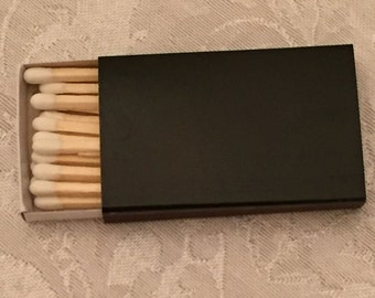 50 Plain Black Cover Wooden Matchbox Matches/Matches/Matchboxes/Match Boxes/Black Match Boxes/Black Box