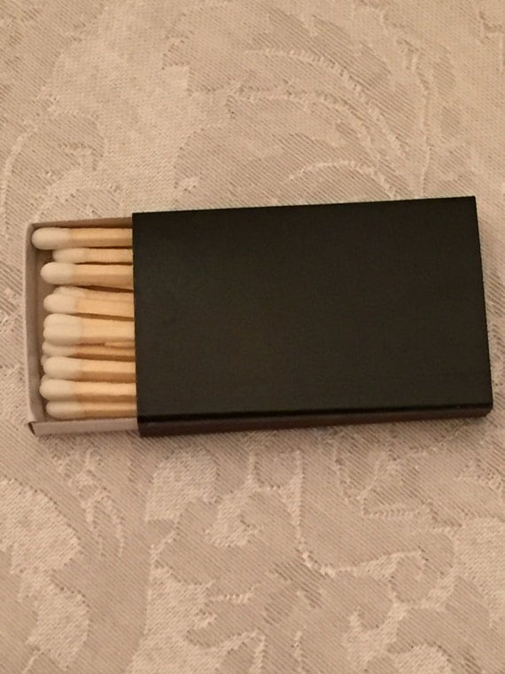 50 plain black cover wooden matchbox matches matches for Black box container studios