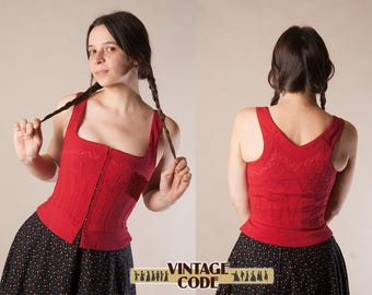 Red Quilted Bodice Corset Dirndl Bodice Top /  Renaissance Medieval Costume Cosplay bodice corset Top pinafore / size xs