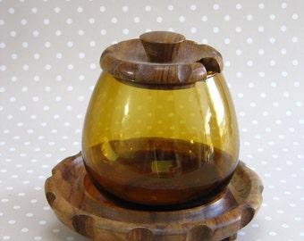 Vintage Retro Brown Yellow Glass and Wood Jam Preserve Jar Pot