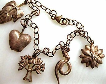 Genesis Bible Charm Bracelet, Adam Eve, Garden Eden, Apple, Serpent Snake, Forbidden Fruit Tree, Bible Study Gift, Sterling Vermiel Thailand