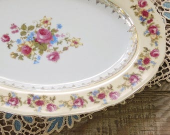 Vintage Gold Castle Hostess China Large Serving Platter Mid Century Made in Japan