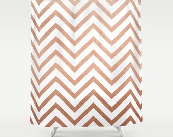 Chevron shower curtain, long shower curtain, white shower curtain, bathroom decor, rose gold bath decor, rose gold, modern shower curtain