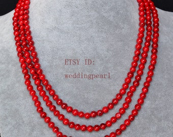 55 inches 6 mm red turquoise necklace, single strand turquoise long necklace,red statement necklace,man-made turquoise bead necklaces