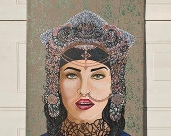 The coronation of Amber/Acrylic on canvas