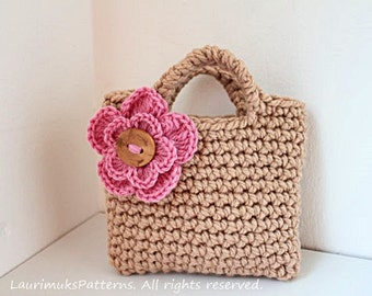 CROCHET PATTERN for kids - Little girls beige flower purse bag pattern - Listing79