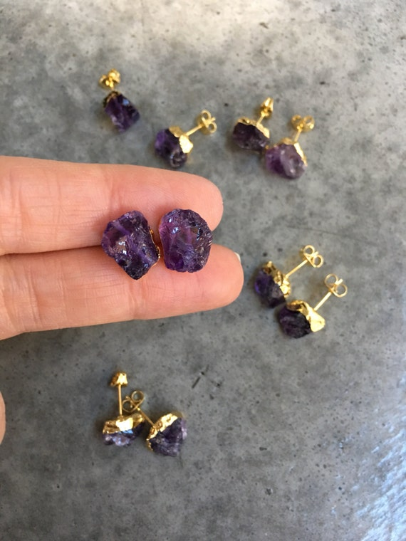 Amethyst earrings, Stud Earrings, birthstone jewelry, boho wedding
